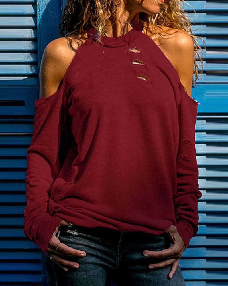 Cold Shoulder Ribbed Cutout Casual Top фото