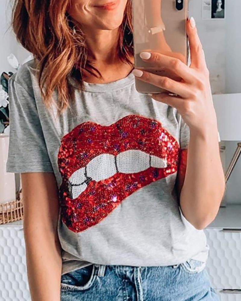 Lip Print Sequins Short Sleeve T-shirt фото