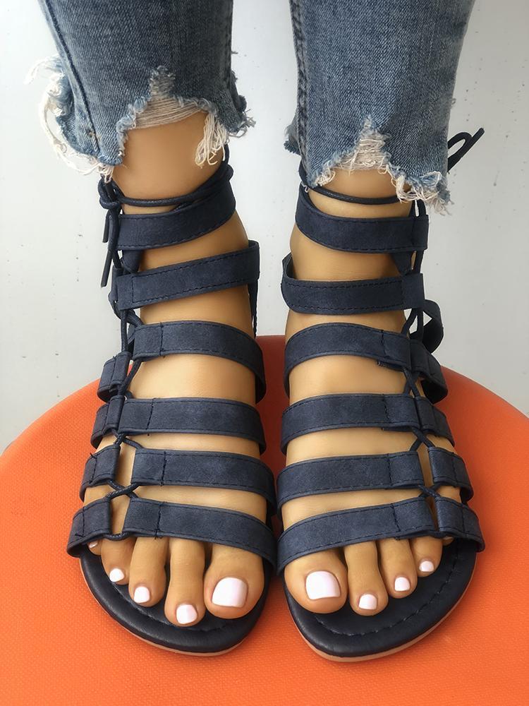 joyshoetique / Solid Multi-strap Strappy Flat Sandals