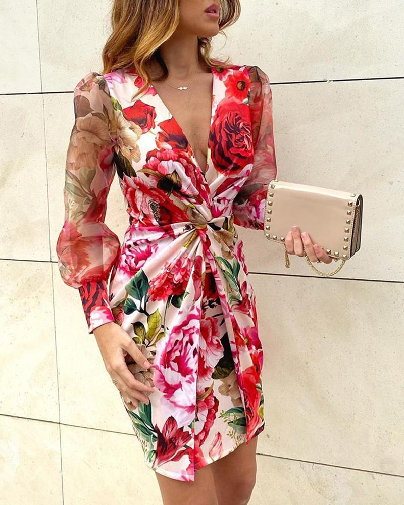Mesh Floral Print Twisted Waist Midi Dress фото