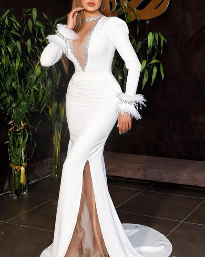 chicme / Vestido de noche con abertura de malla de plumas de lentejuelas