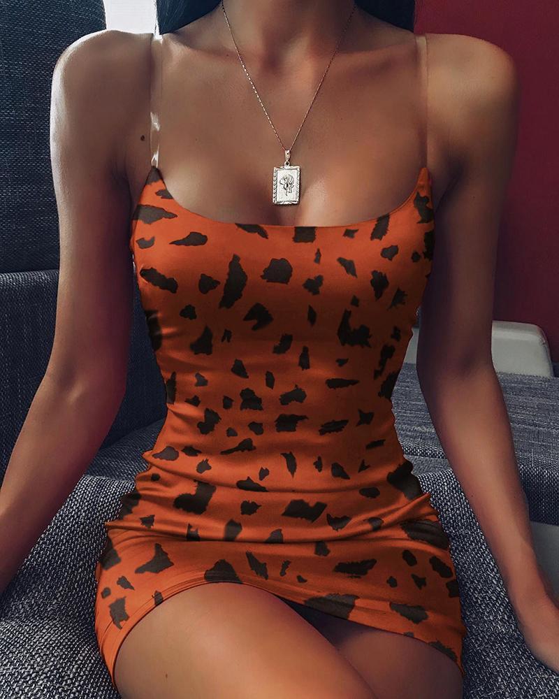 boutiquefeel / Vestido ajustado de leopardo con correa de espagueti abstracto