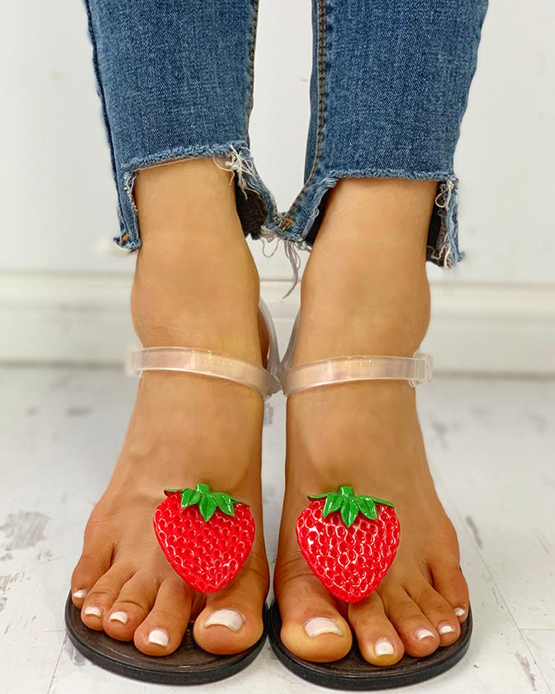 Transparent Strap Strawberry Pattern Sandals фото