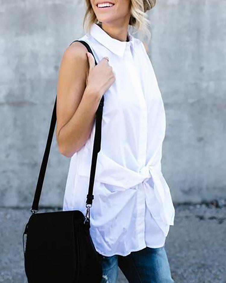 Lapel Collar Sleeveless Belted Blouses Tops фото