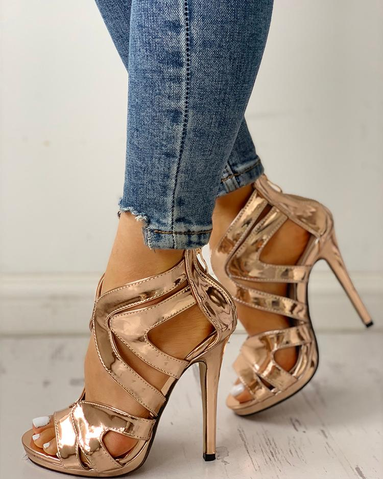 chicme / Hollow Out Thin Heeled Sandals
