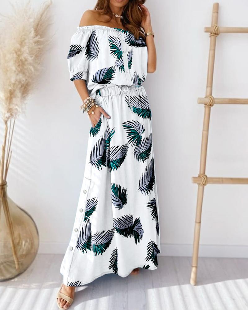 ivrose / Leaf Print Off Shoulder Button Top & Skirt Sets