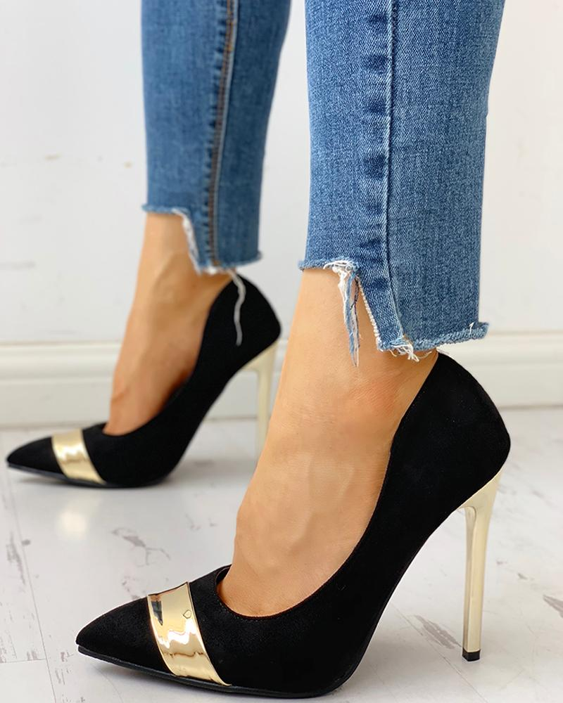 ivrose / Pointed Toe Colorblock Insert Thin Heels