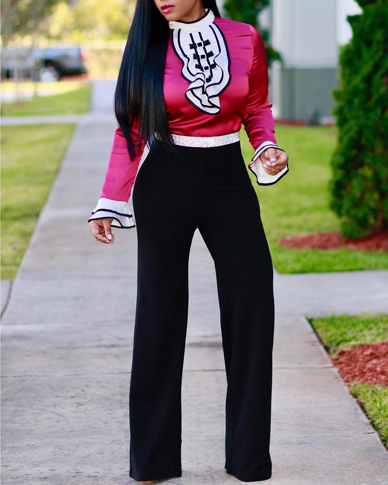 Ruffle Trim Blouse & High Waist Pants