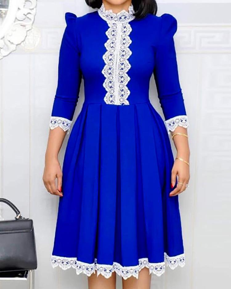 Long Sleeve Lace Insert Pleated Dress