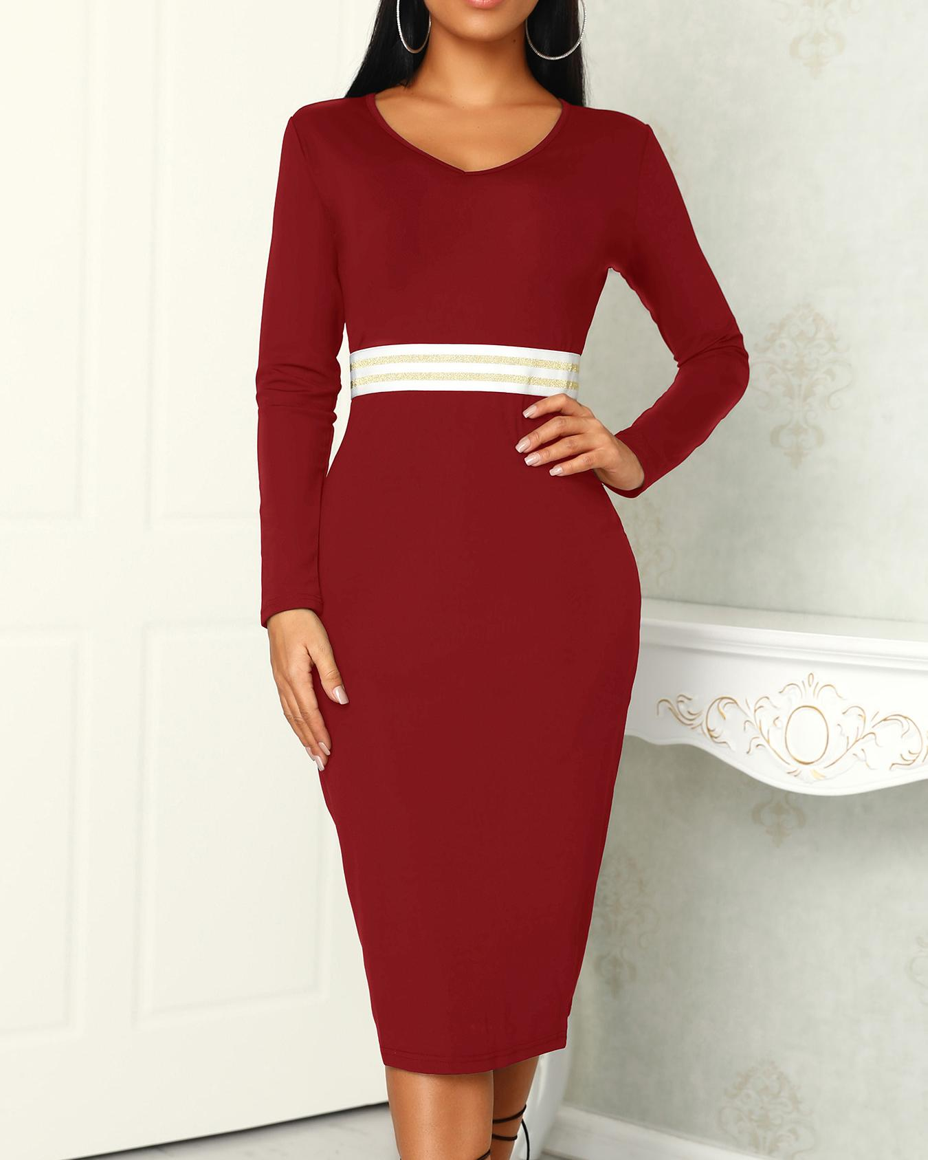 Deep V Sequined Stripes Detail Bodycon Dress фото