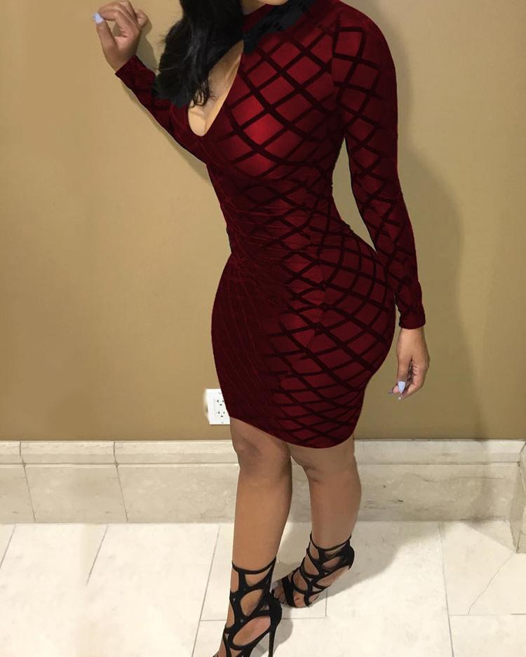 Sexy Cut Out Mesh Bodycon Dress - Red фото