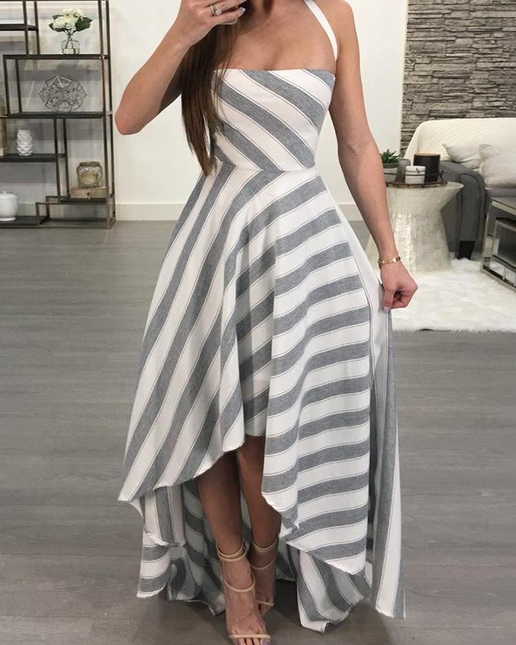 Contrast Striped Crisscross Open Back Maxi Dress
