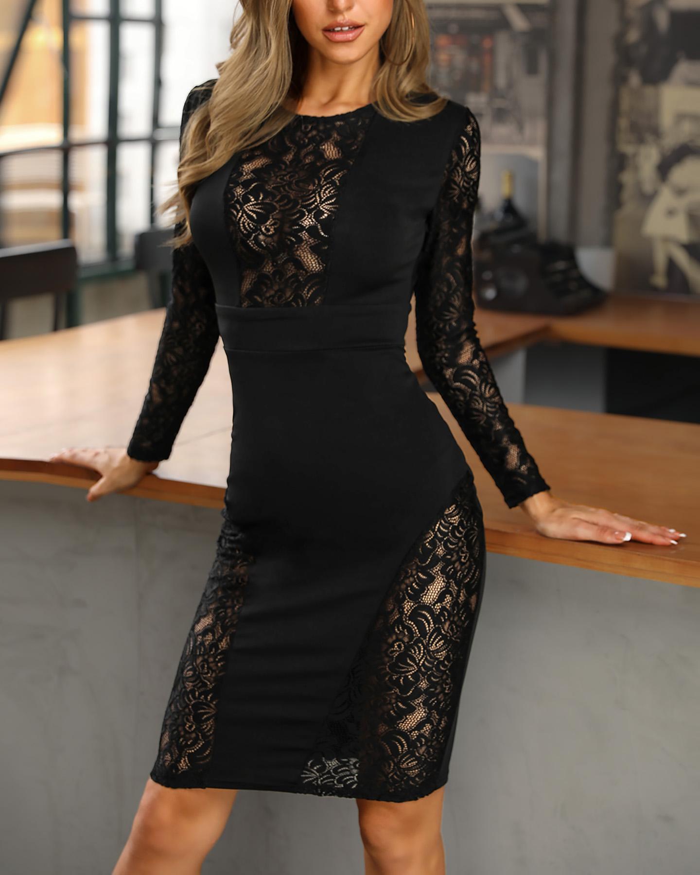 Black Lace Insert Midi Dress фото