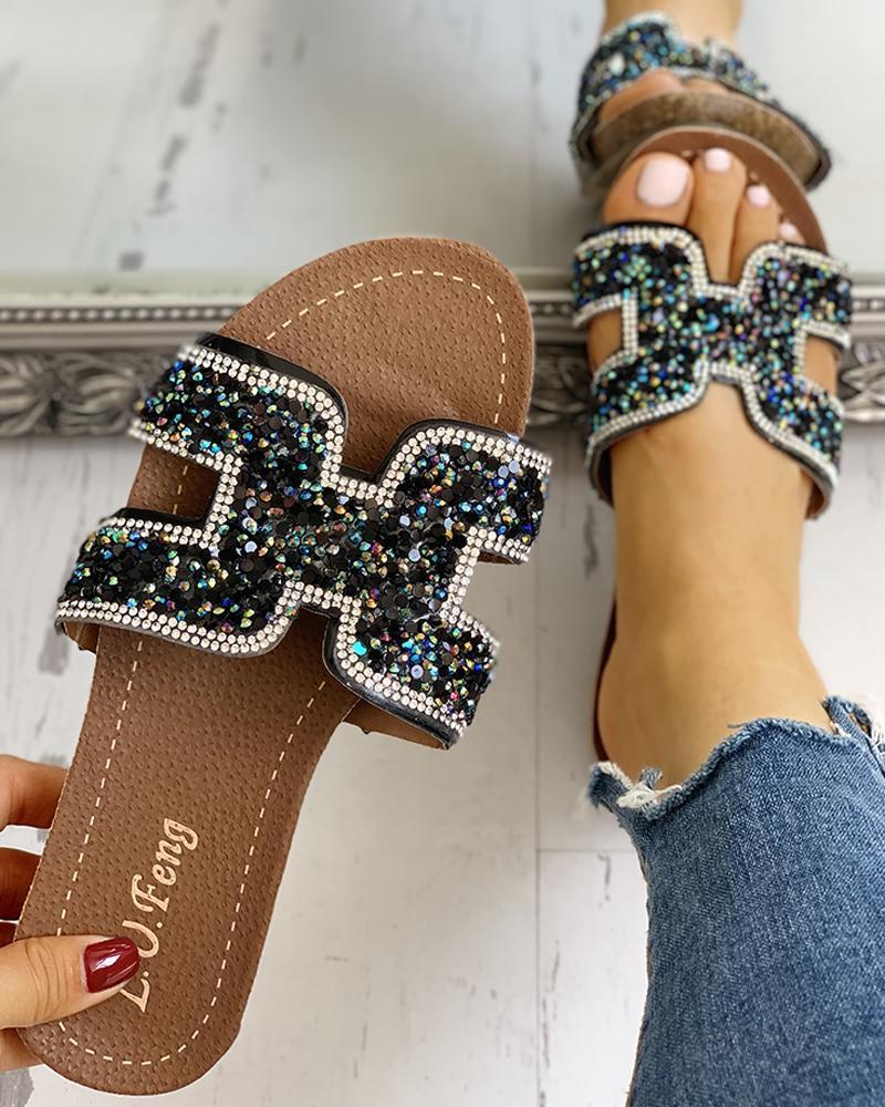 Open Toe Studded Geo Cutout Flat Sandals