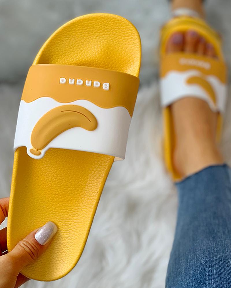 chicme / Fruit Pattern Open Toe Flat Sandals