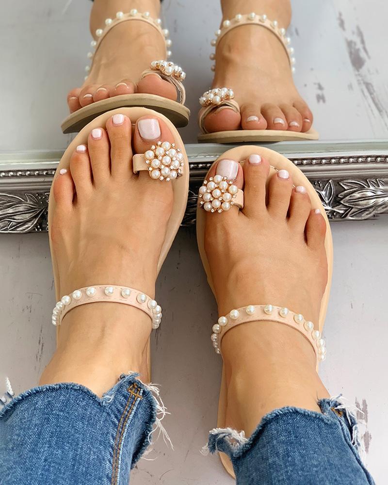 ivrose / Sandalias casuales con cuentas anillo del dedo del pie