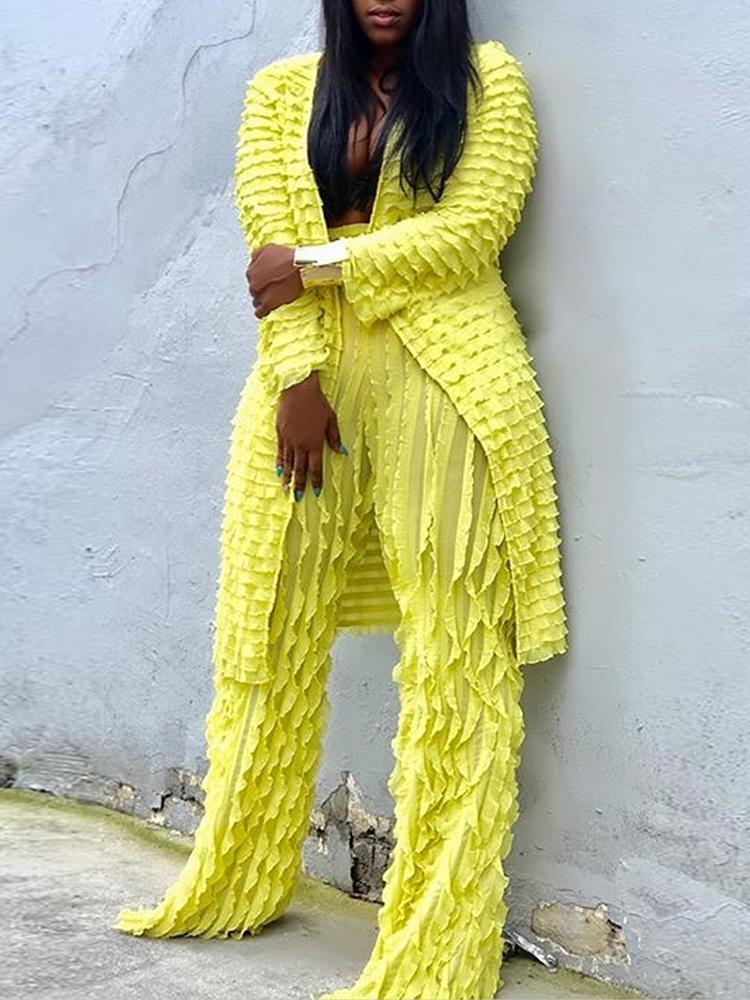 2PCS Soli dfrill Long Coat&Wide Pants Sets