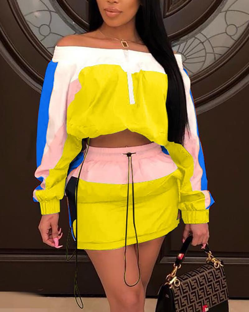 Contrast Color Off Shoulder Top With Skirt Sets