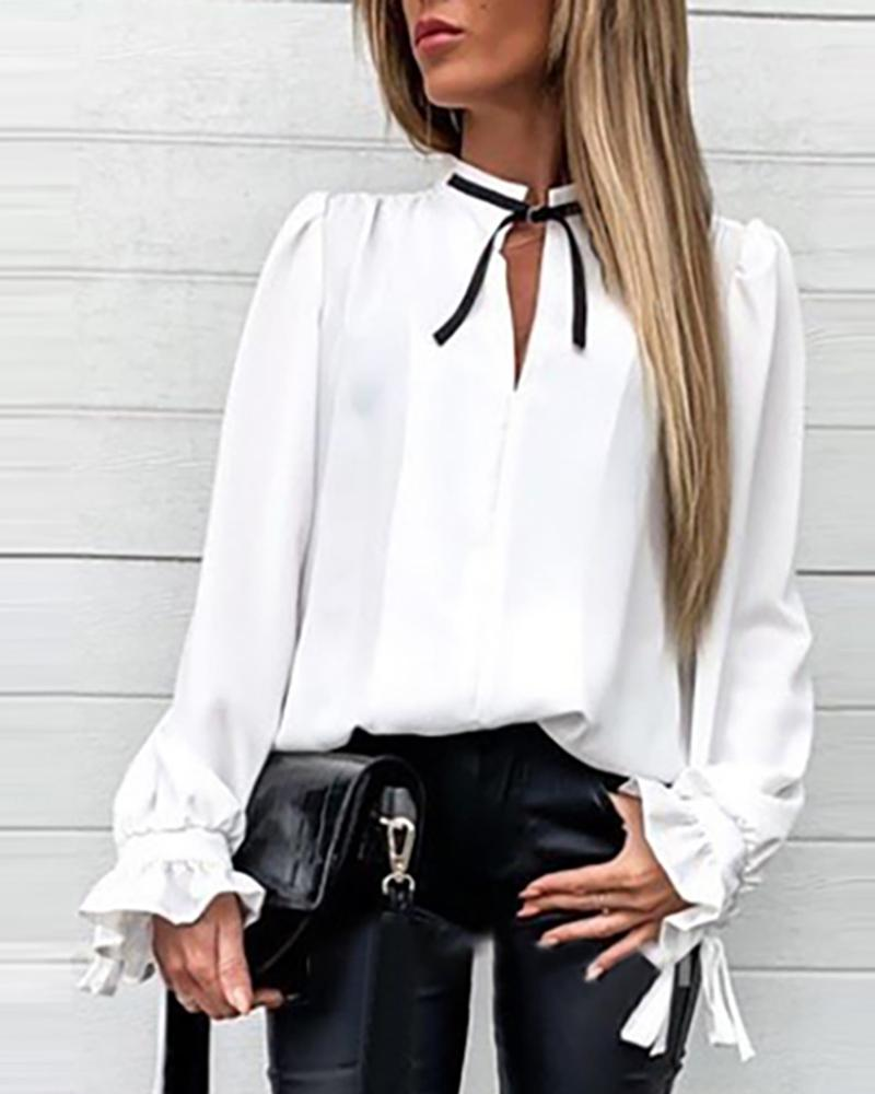 chicme / Ruffles Solid Cuff Tied Neck Shirt