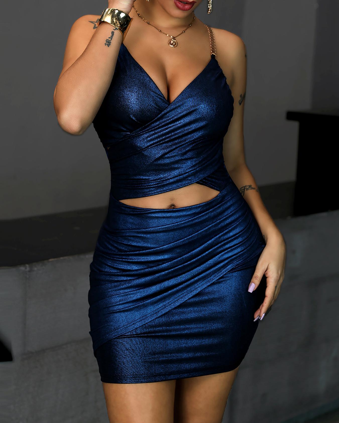 chicme / Cinta Metálica Strap Cutout Bodycon Dress