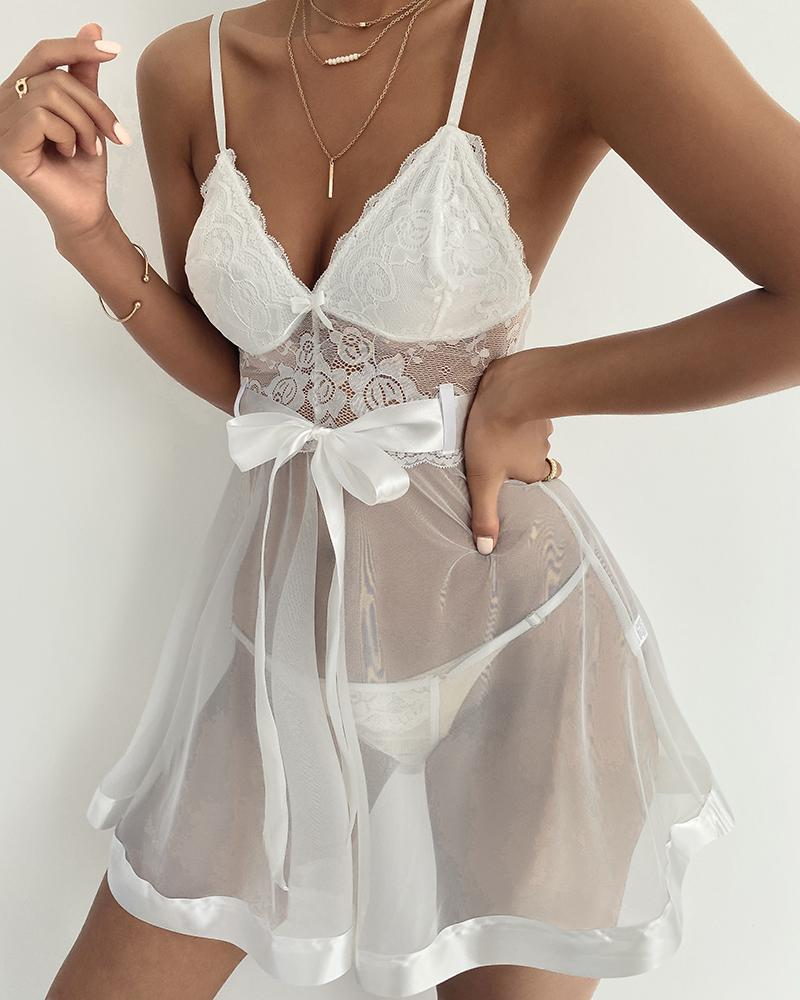 Knotted Crochet Lace Sheer Mesh Lingerie Set