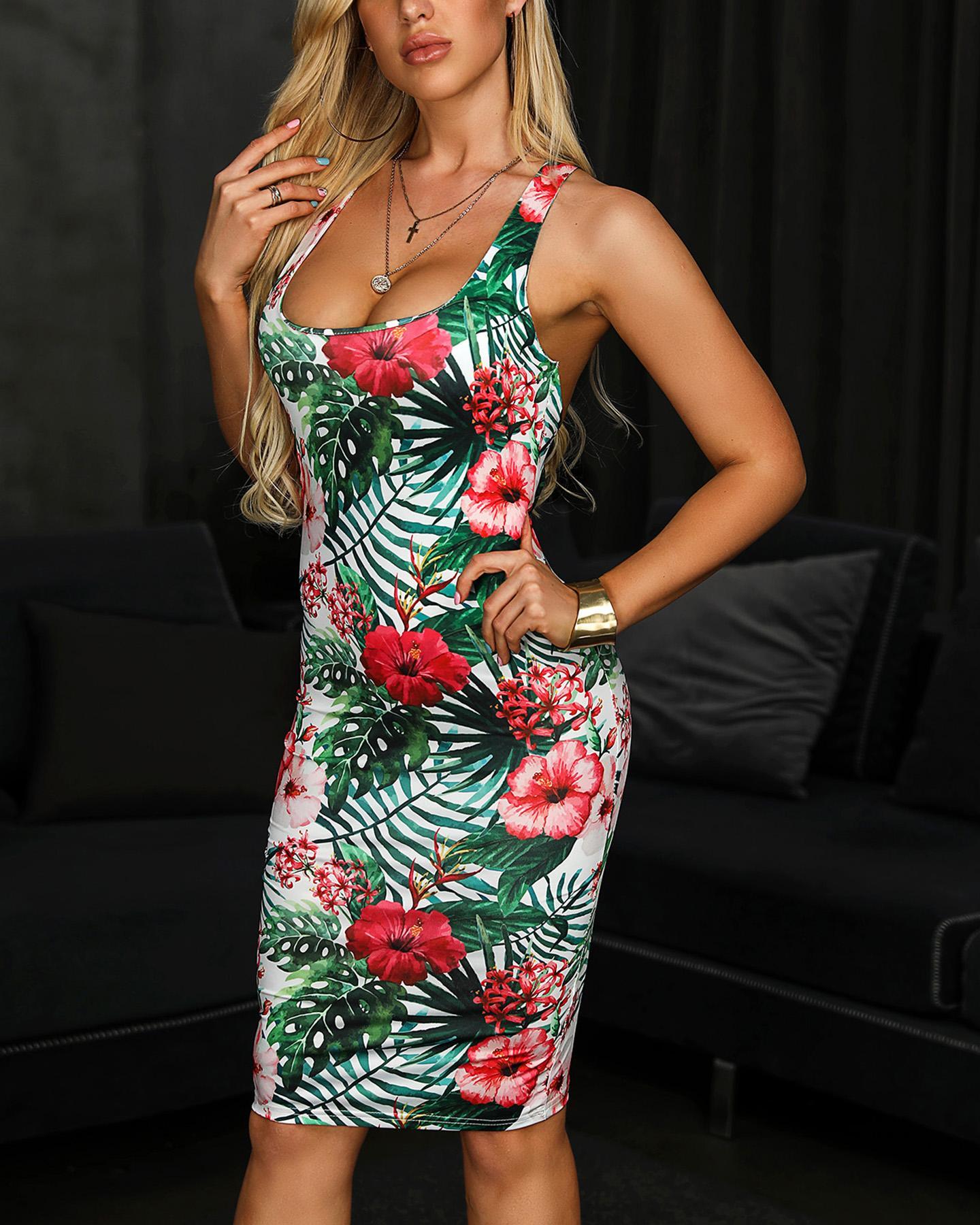 Crisscross Back Tropical Print Bodycon Dress