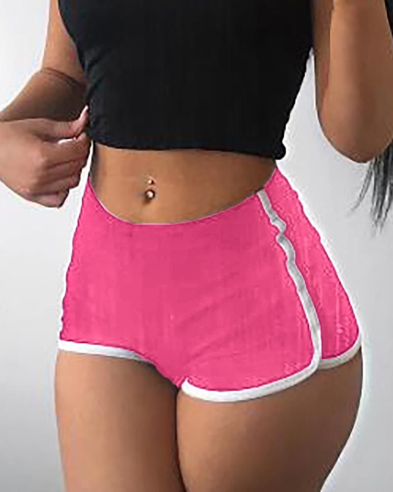 High Waist Contrast Binding Sporty Shorts фото