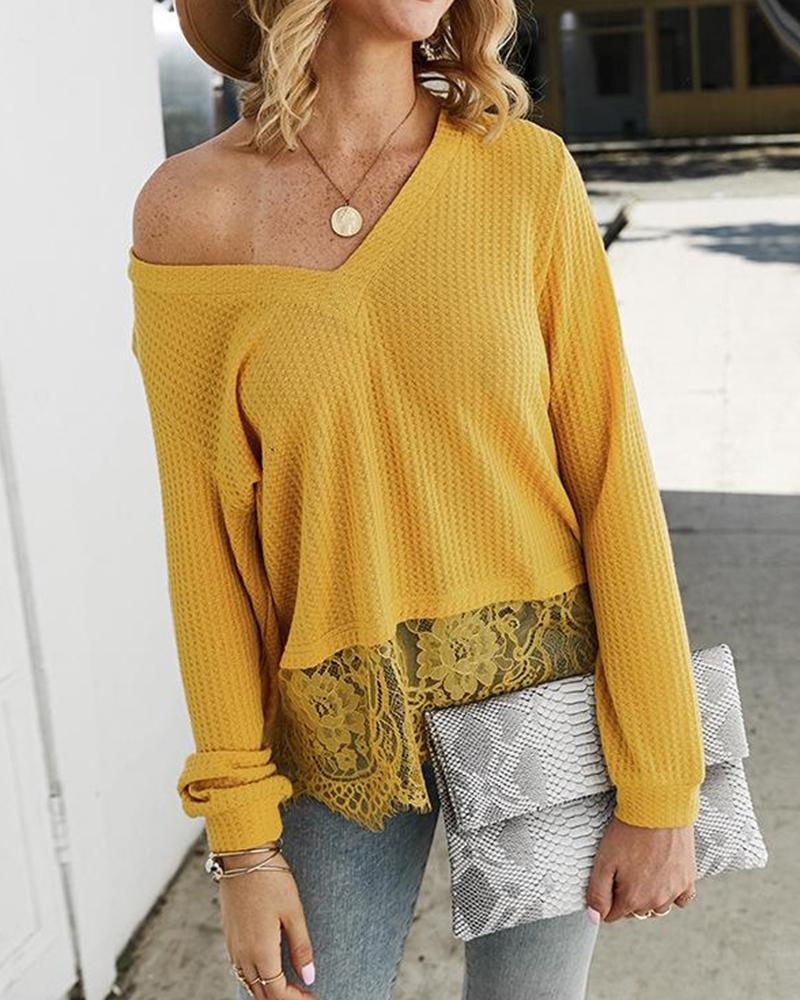 V Neck Rib Knit T-Shirt фото