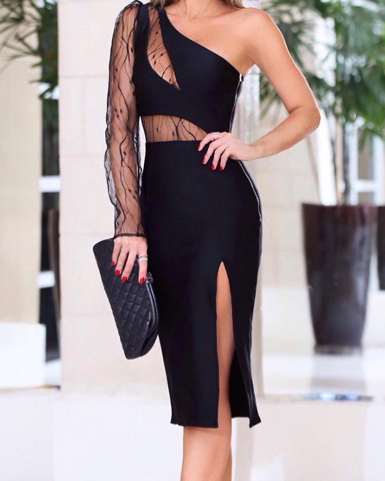 Mesh Insert One Shoulder Slit Bodycon Dress, Black