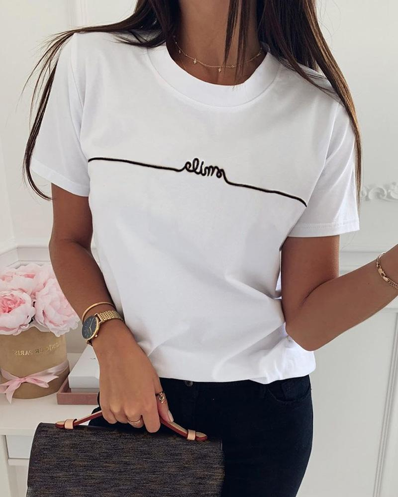 Letter Pattern Embroidery Casual T-shirt фото