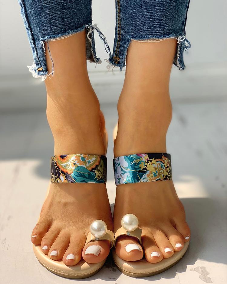 Beaded Design Tropical Print Casual Sandals