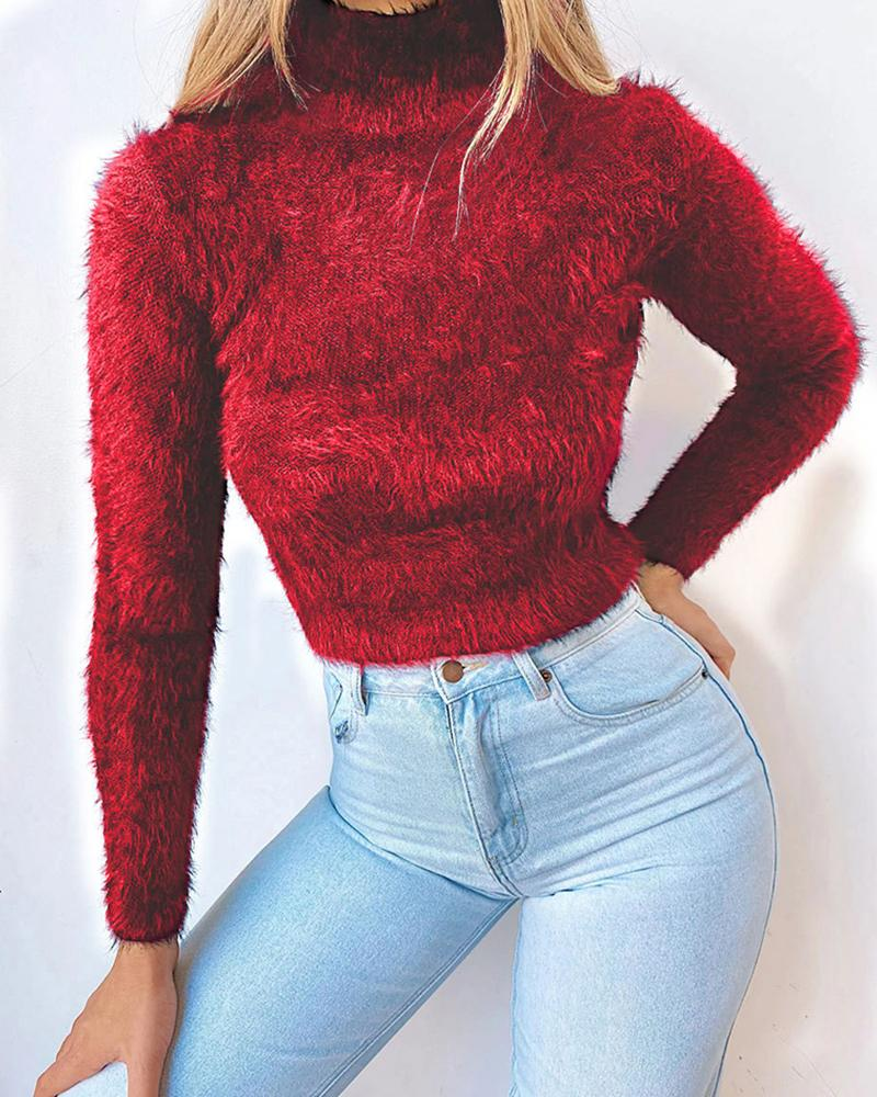 High Neck Solid Fluffy Long Sleeve Sweater фото