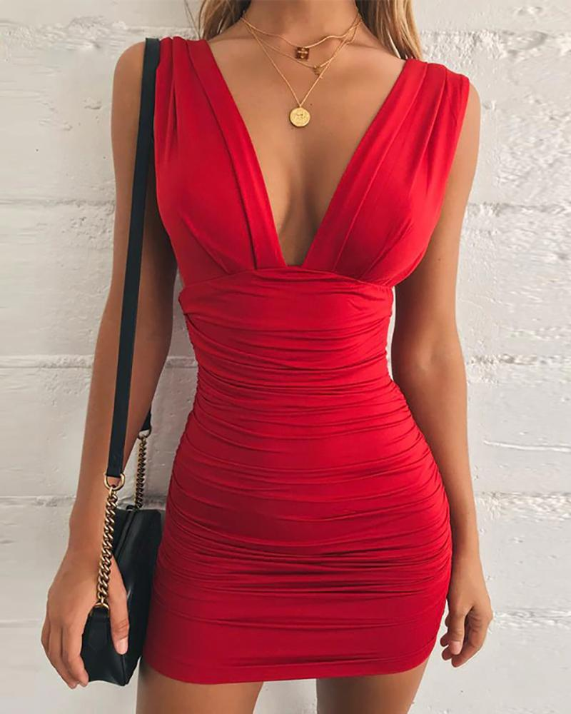 Sleeveless Ruched Open Back Dress фото