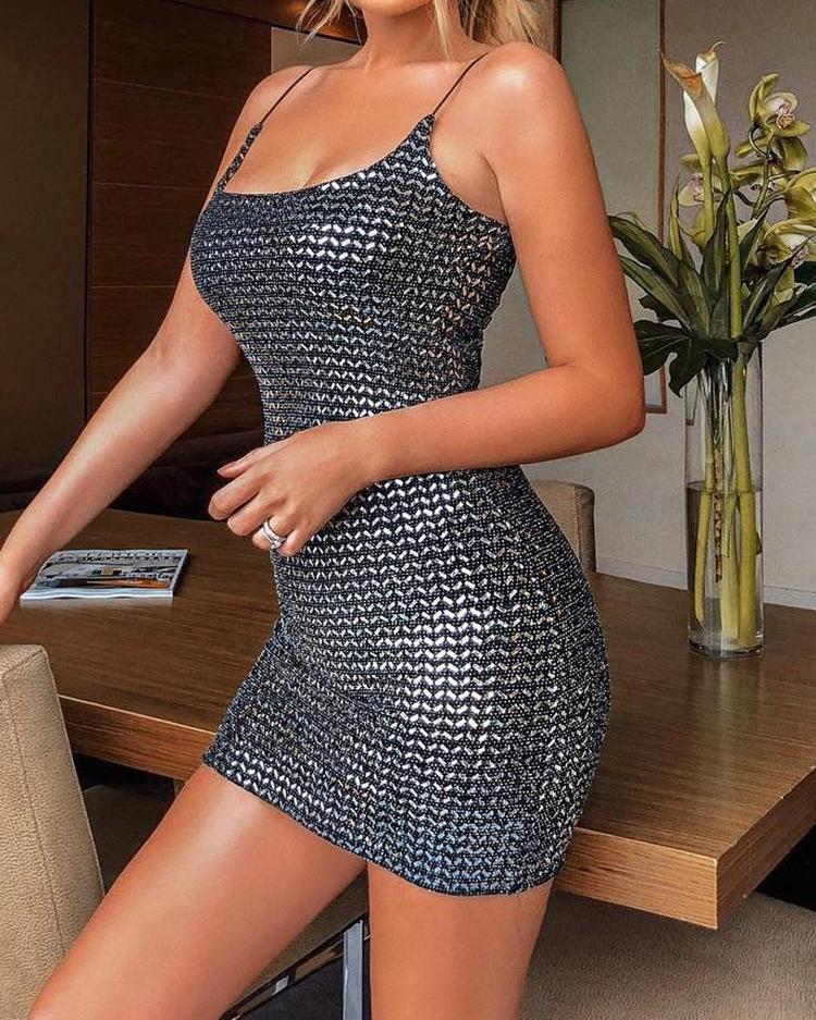 Spaghetti Strap Glitter Bodycon Dress