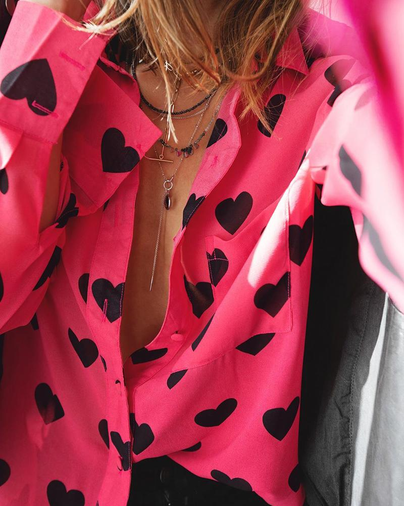 Heart Print Button-Up Shirt фото