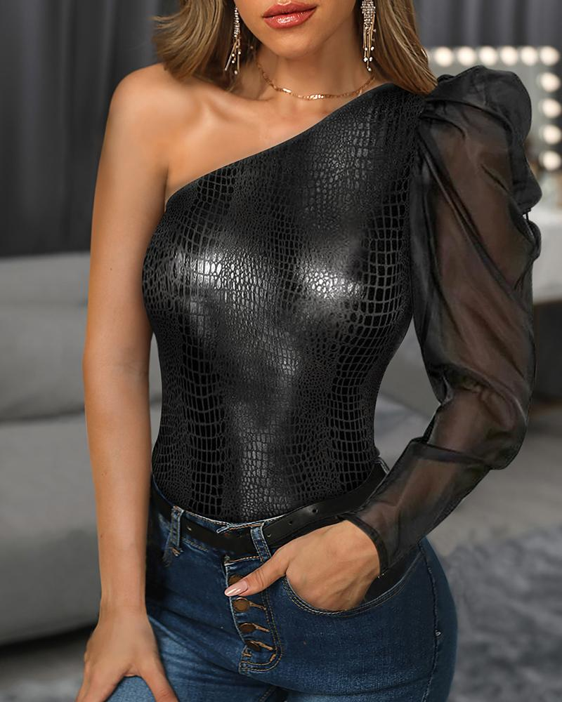 One Shoulder Mesh Faux Leather Blouse фото