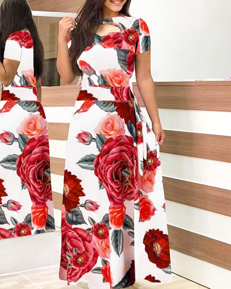 Short Sleeve Cutout Print Maxi Dress фото