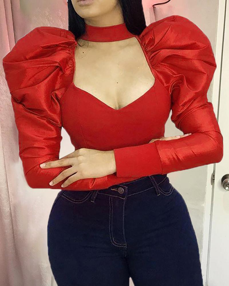 chicme / Blusa de pecho con corte de manga hinchada sólida