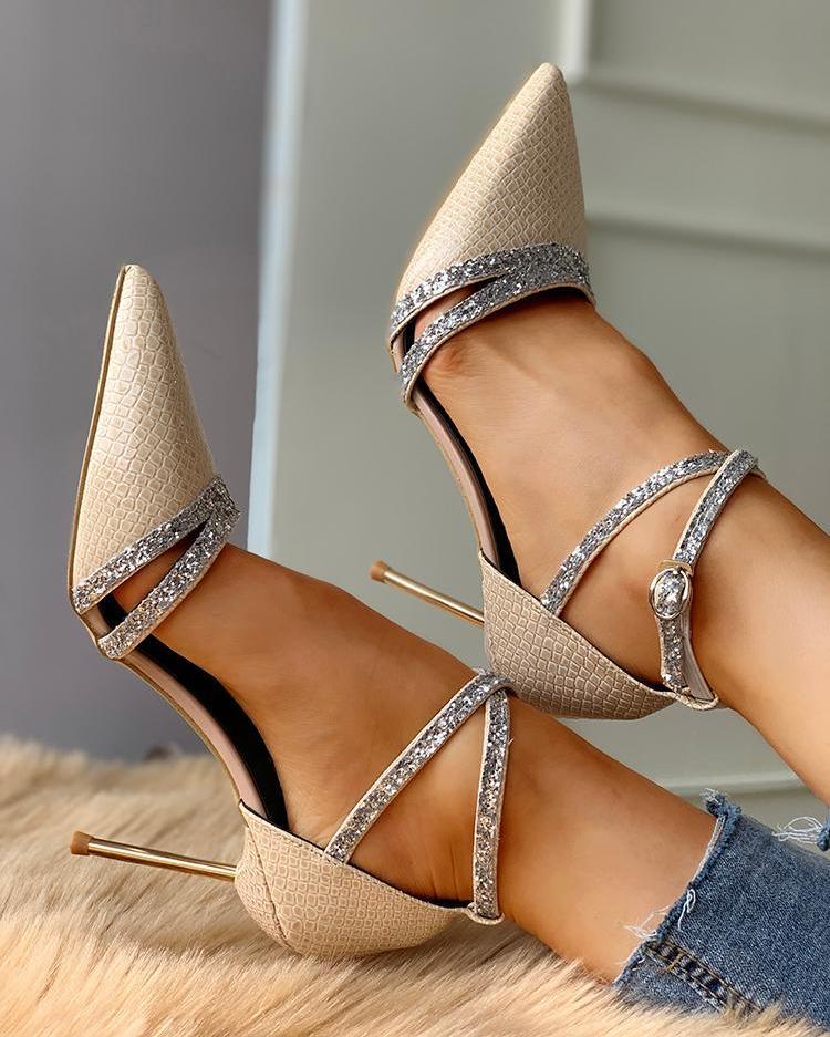 Gem-Studded Crisscross Thin Heeled Sandals