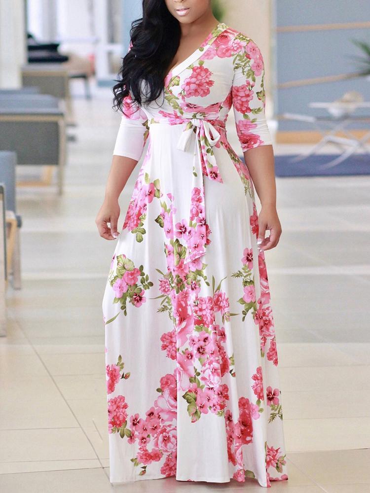 Floral Print Deep V High Waist Belted Ruched Maxi Dress