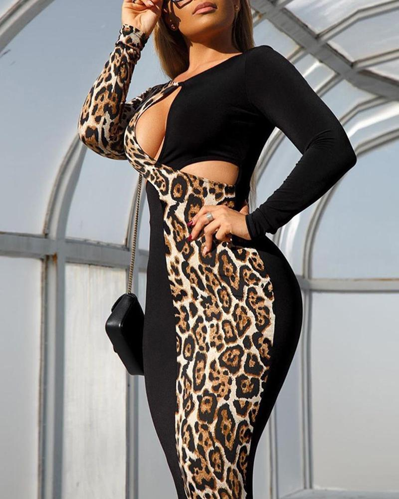 Leopard Patchwork Cut Out Chest Bodycon Dress фото