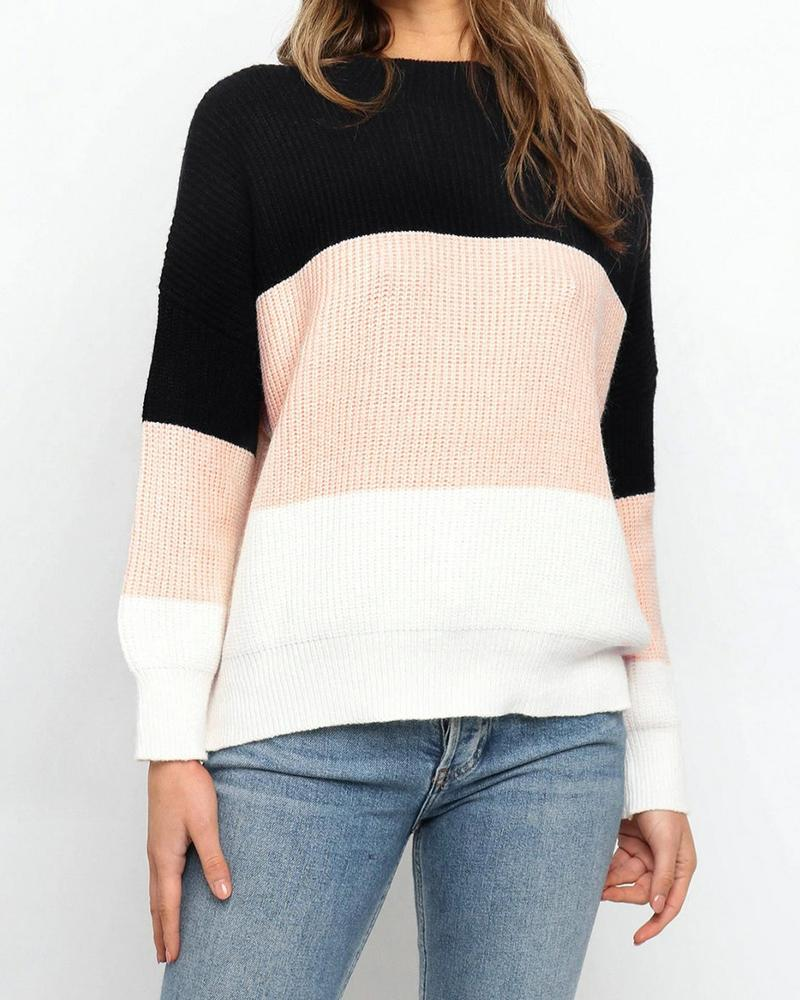 Colorblock Long Sleeve Knit Casual Sweater фото