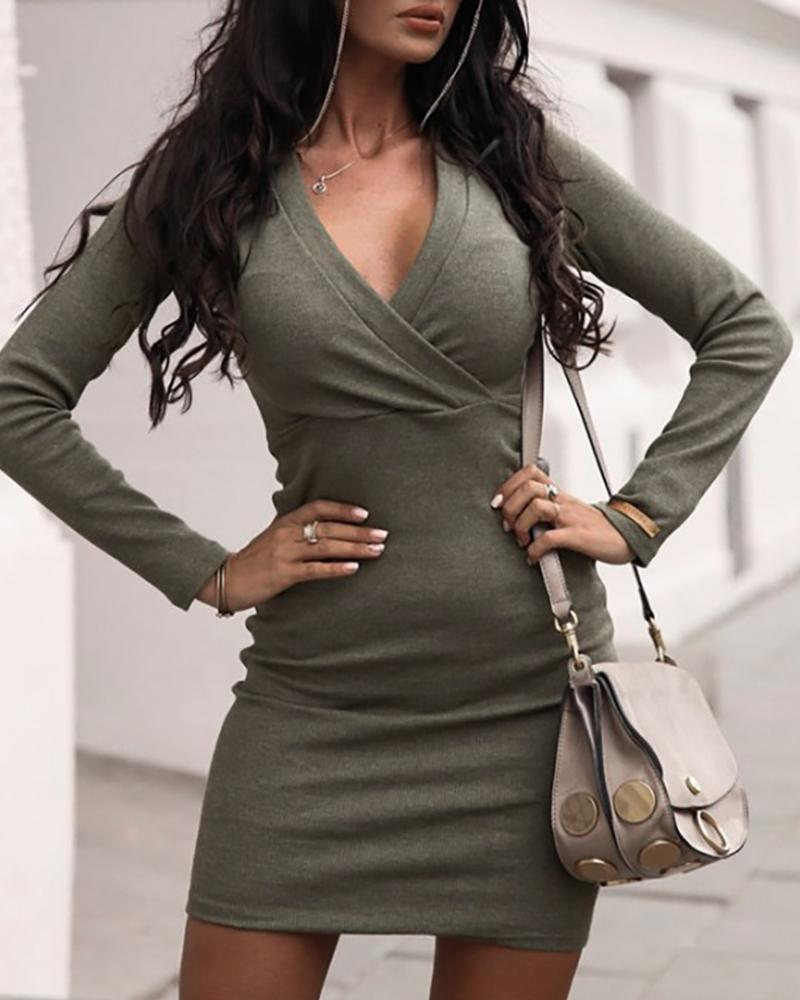 Solid V-Neck Long Sleeve Ruched Bodycon Dress фото