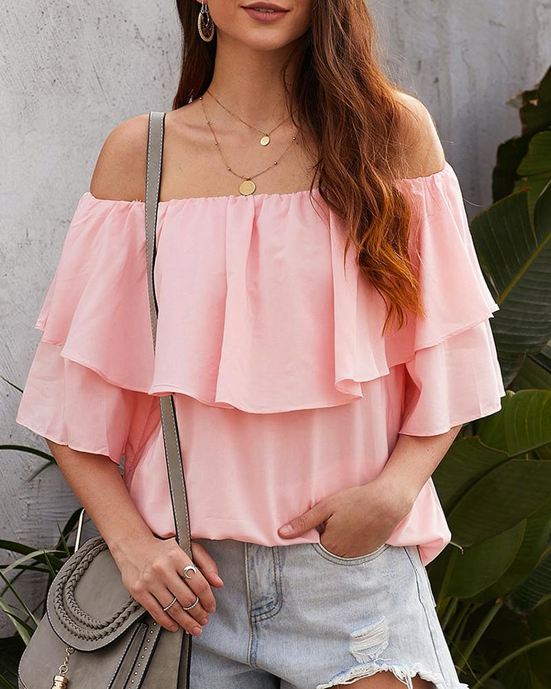 Off Shoulder Ruffles Solid Blouse фото