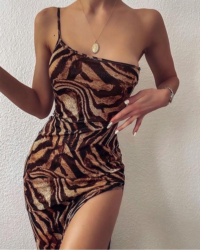 Tiger Print One Shouleder Dress фото