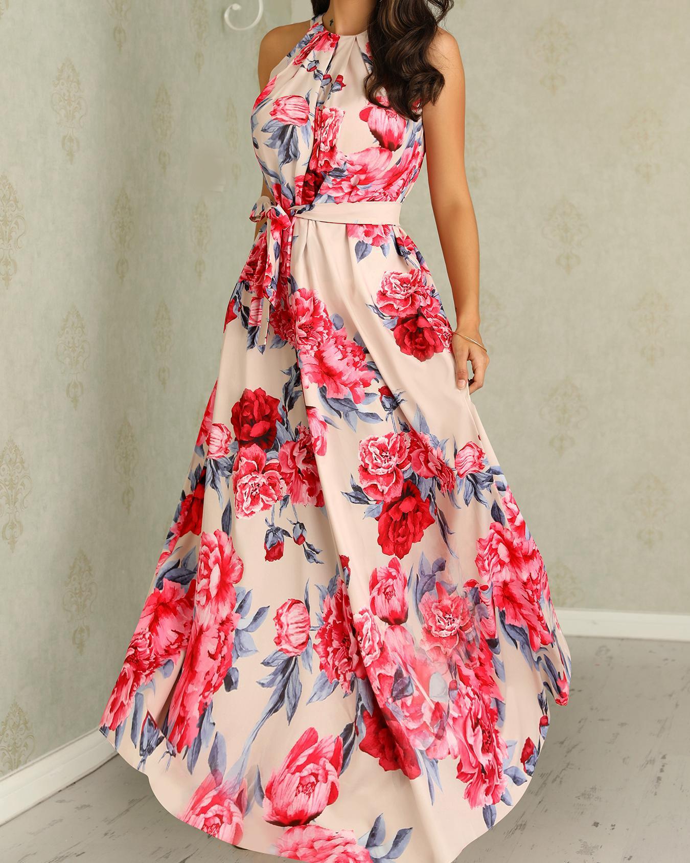 ivrose / Floral Print Sleeveless Belted Maxi Dress