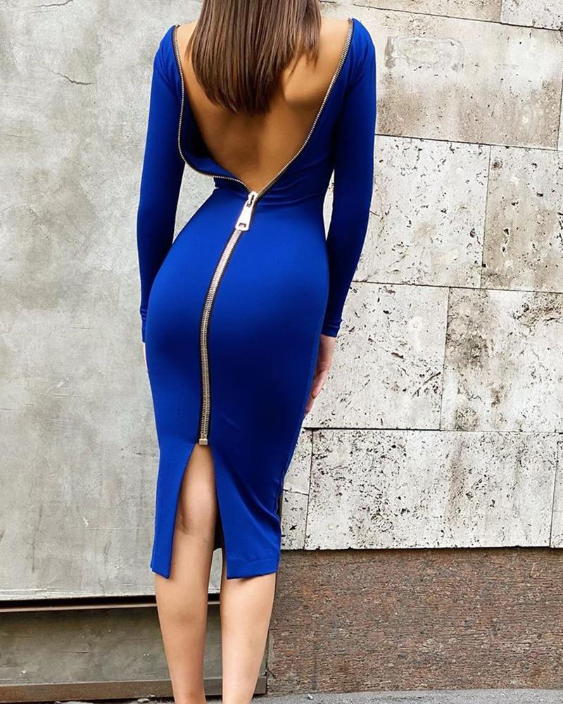 Solid Zipper Skinny Long Sleeve Bodycon Dresses фото