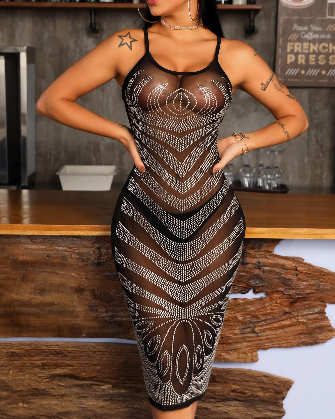 Sheer Hot Stamping Mesh Bodycon Dress