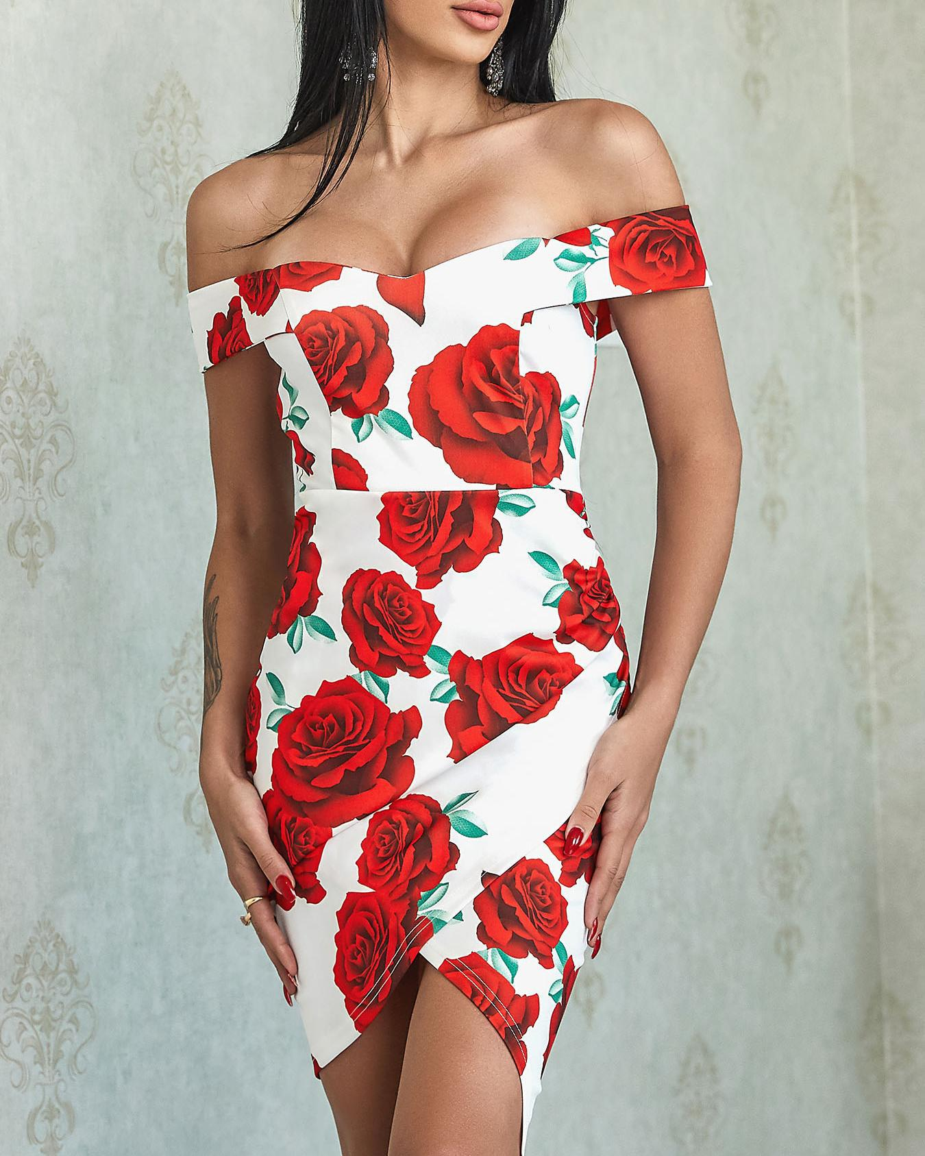 Floral Print Off Shoulder Irregular Bodycon Dress фото