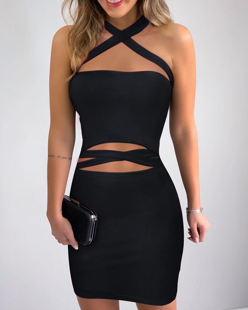 Crisscross Neck Cutout Bodycon Dress, Black